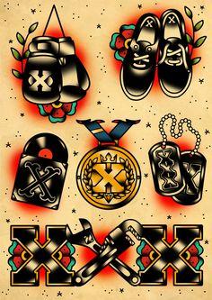 Straigh Edge Tattoo Flash Set Art Print by DerickJames - X-Small Tatto Old, Arm Tattoo, Sleeve Tattoos, Tattoo Ink, Leg Tattoos, Traditional Tattoo Old School, Traditional Tattoo Flash, Neo Traditional, American Traditional