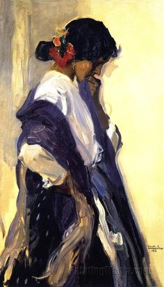 Gypsy by Joaquin Sorolla y Bastida, a Spanish painter. Born in Valencia, he was one of history's most brilliant artists and yet, despite his exhibitions attracting vast attendances, his stunning oil paintings are still not widely known outside Spain.