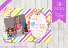 Art Party - A Customizable Birthday Party Invitation by ImpressionsPaperie - Art Birthday Party - Painting Party - Bright Colors