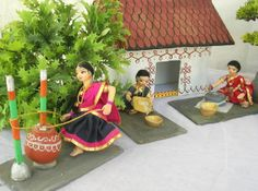 Village house Gauri Decoration, Thali Decoration Ideas, Diwali Decorations, Quilling Dolls, Janmashtami Decoration, Ganapati Decoration, Krishna Janmashtami, Wedding Doll, Indian Village