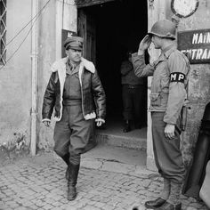 Commander of the Allied Armies in Italy, General the Hon Sir Harold Alexander, leaving Corps HQ at Anzio, 1944 South East Europe, Italian Campaign, Military Police, American Soldiers, Historical Pictures, Us Army, World War Two, Wwii, Two By Two