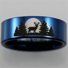 Tungsten Carbide Buck and forest scene ring. Forest Tattoos, Tattoos For Lovers, Jewelry Tattoo, Tungsten Carbide, Laser Engraving, The Great Outdoors, Band Rings, Cuff Bracelets, Wolf