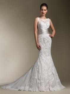 Sabrina Neckline Pleated Sash Couture Bridal Gown Justin Alexander 8596: DimitraDesigns.com
