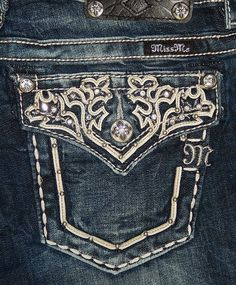 """MISS ME JEANS """"FLORAL WHITE LEATHER FLAP POCKET"""" BOOT CUT JW5917B2. These are mine thanks babe!"""