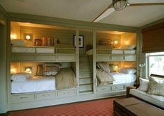Article describing how having a bunk room aligns with the purpose of having a small house. Includes description of a century bunk room. Double Bunk Beds, Bunk Beds Built In, Bunk Beds With Stairs, Kids Bunk Beds, Loft Beds, Bed Stairs, Built In Beds For Kids, Cool Bunk Beds, Home Decor Ideas