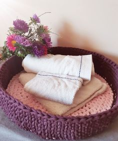 This claret and pink crocheted pet basket made with a good quality 80% cotton recycled t-shirt yarn. Perfect for a cat bed or a small dog bed. It is a very comfortable resting place for your pet. You can use it for toy storage too. #recycledcrochet #smalldogbed #catbed Pet Beds, Dog Bed, Crochet Pet, Toy Storage, Basket, Cat, Shirt, Pink, Cotton