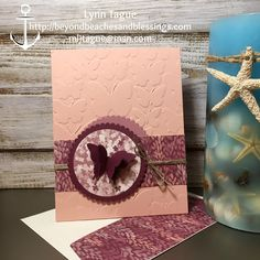 StampinUp CAS All Occassion Card made with Blooms & Bliss Designer Series Paper (DSP), Layering Circles Thinlits, Fluttering TIEF and Elegant Butterfly Punch, designed by demo Lynn Tague. See more cards and gifts ideas at BeyondBeachesandBlessings.com #BeyondBeachesandBlessings #PPA312