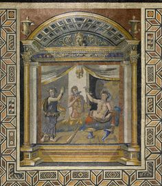 Roman  Mosaic pavement: drinking contest of Herakles and Dionysos, early 3rd century A.D.  Stone and glass