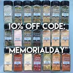 "Stock up for summer this weekend - our spices are on SALE! Take 10% off your order with code ""MemorialDay"" /// click the link in our profile to shop or visit http://ift.tt/1PwZzoY  #primalpalatespices #pfx16"