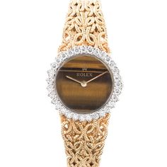 Rolex Lady's Yellow Gold and Diamond Bracelet Watch with Tiger's Eye Dial | From a unique collection of vintage wrist watches at https://www.1stdibs.com/jewelry/watches/wrist-watches/