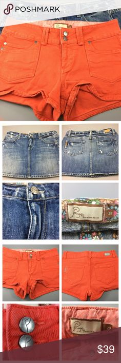 💸Paige Denim set in size 26! Skirt and a short😲! 💸Paige Denim set! 1 denim skirt and one dark orange short and one distressed/faded denim skirt! Awesome deal! 2 for one😊 Paige Jeans Shorts Jean Shorts