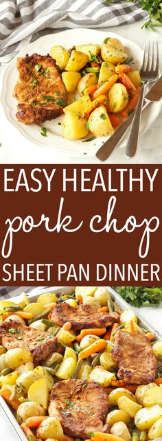 This Easy Pork Chop Sheet Pan Dinner is the perfect weeknight meal idea for busy families - just a few simple ingredients and you've got a whole meal on one pan! Recipe from thebusybaker.ca! #sheetpandinner #easyporkchops #bestporkchops via @busybakerblog