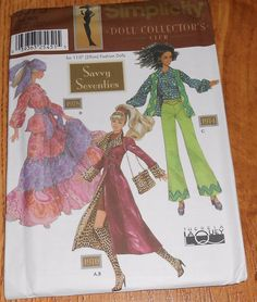 "Simplicity 9975 11 1/2"" Barbie Fashion Dolls Savvy 70's Theresa LaQuey Pattern #Simplicity"