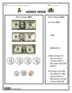 Money Worksheets - Money Sense and Making Change by Innovative Teacher #dollar #coin