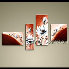 Colorful Contemporary Wall Art Oil Painting On Canvas For Living Room Tulip Flowers. This 4 panels canvas wall art is hand painted by Anmi.Z, instock - $135. To see more, visit OilPaintingShops.com