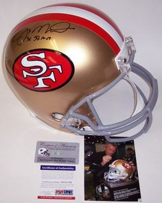 This San Francisco 49ers Throwback Full Size Replica Football Helmet has been hand signed by Joe Montana. Mr. Montana added the 3x SB (Super Bowl) MVP Inscription. The Helmet will include the PSA/DNA