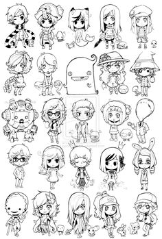 Uhh where to start. A chibi collection of. many sort of things. Most of them are my OCs, and then some of our couple-characters with *Jumpix bei. chibis, chibis everywhere Anime Chibi, Kawaii Chibi, Cute Chibi, Manga Drawing, Manga Art, Drawing Sketches, Anime Art, Kawaii Drawings, Cartoon Drawings