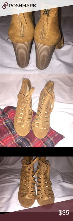 NWOT Melrose and Market faux suede brown booties Size 8.5.  NWOT. Originally purchased at Nordstrom Rack. Cognac faux suede. Perfect for fall. Lace up. Zipper on the back. melrose and market Shoes Ankle Boots & Booties