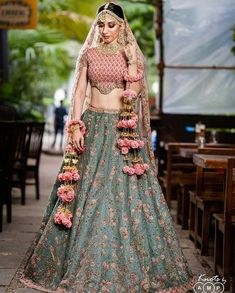 You just can't take your eyes off their mesmerizing collections with intricate Bridal work. bridal Lehenga is handcrafted with utmost care and perfection by the finest artisans And Fully Customises Wedding latets Indian Styles ANd Trends! Mehendi Outfits, Indian Bridal Outfits, Indian Bridal Lehenga, Indian Bridal Fashion, Indian Designer Outfits, Wedding Lehenga Designs, Designer Bridal Lehenga, Wedding Lehnga, Lehenga Designs Latest