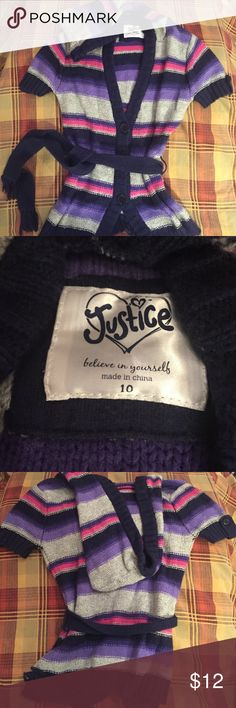 Adorable! Justice hooded short sleeve cardigan So cute! Excellent condition, perfect for fall to go with jeans or leggings. Hooded short sleeve cardigan with belt. Fast Shipper & Top Rated Seller! Justice Shirts & Tops Sweaters