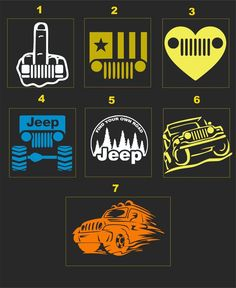 JEEP #5 ASST. CAR & HOME GRAPHICS...PICK YOUR SIZE & COLOR...2 FOR 1 | eBay 97 Jeep Wrangler, Jeep Wj, Jeep Truck, Jeep Stickers, Jeep Decals, Vinyl Monogram, Monogram Shirts, Jeep Hacks, Jeep Quotes