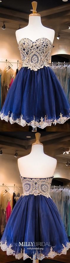 Short Homecoming Dresses For Teens, Blue Prom Dresses Modest, Elegant Sweet Sixteen Dresses Sweetheart, Organza Cocktail Party Dresses Beading