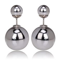 Silver Plated, Tribal Style Double Pearl Earrings; BeadyBoutique.com
