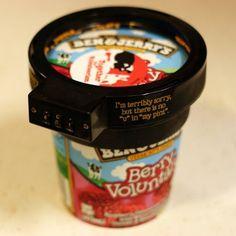 이렇게까지 하고픈 심정은 이해가 되기도 하지만 ㅋ   Ben & Jerry's Lock Protects Your Ice Cream Pints From Thieves, Where To Buy The 'Euphori-Lock' $6.64 - My girlfriend would cut open the bottom; I just know it. #lock #gadget