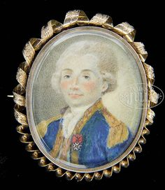 """The miniature shows a young officer with white hair, wearing a blue gold-trimmed coat and white cross-type medal (Order of St. Louis). He commanded a French regiment in the American Revolutionary War in 1780. Housed in an untested gold locket frame with pin back. Sitter information and attribution supplied by a family historian which we are basing this catalog entry on. SIZE: Overall: 3-1/4"""" x 1-1/2"""". CONDITION: Very good. 50641-3"""