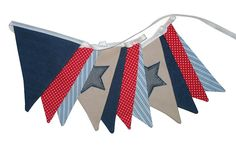 BOYS Star Denim Blue Red & White Flag Bunting. Party Shop Banner Decoration