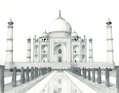Landscape Drawings in Pencil | taj mahal by matanchaffee
