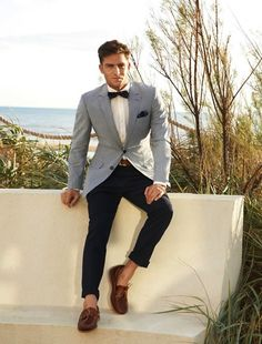 Gray & Navy! Boat Shoes. Pocket Square. Perfect getup. Austin Reed S/S 2013 lookbook