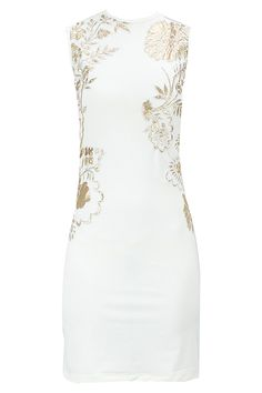 Ivory and gold applique dress available only at Pernia's Pop-Up Shop.