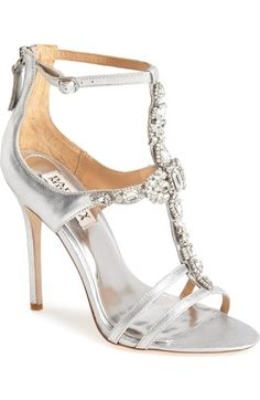 Badgley Mischka 'Giovanna II' Satin Ankle Strap Sandal possible wedding shoes in the ivory color (Women) available at Silver Bridesmaid Shoes, Silver Bridal Shoes, Bridal Wedding Shoes, Silver Shoes, Dream Wedding, Silver Formal Shoes, Silver Evening Shoes, Evening Sandals, Wrap Shoes