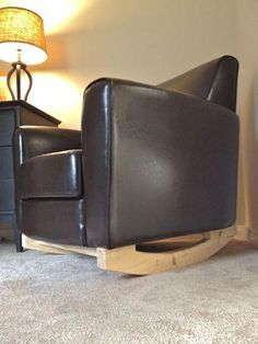turn a regular arm chair into a Baby Rocker Angled Side View Rocking Chair Nursery, Baby Chair, Hand Painted Chairs, Baby Rocker, Everything Baby, Recycled Furniture, Baby Cribs, Old Dressers, Armchair