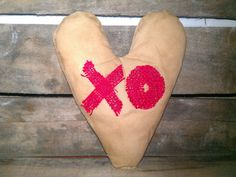 PRIM heart with burlap XO. $7.99 at https://www.etsy.com/listing/176683953/prim-valentines-day-coffee-stained-heart