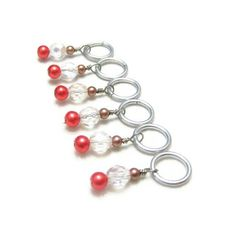 Knitting Row Counters Stitch Markers Coffee Brown Crystal and Peach Pink Row Markers. $7.00, via Etsy.