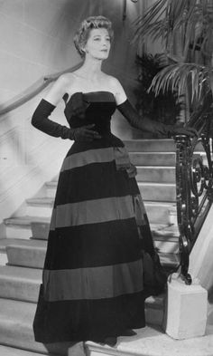 1953 - Christian Dior Elegant Stripes in Beautiful Evening Gown