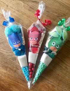 #PJ masks Birthday Party sweet cones favours by Sweet Mafia