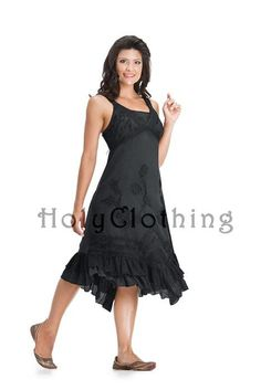 Shop Roxy Floral Embroidered Hem Sun Dress In Black Midnight: http://holyclothing.com/index.php/roxy-boho-floral-embroidered-ruched-gypsy-hem-maxi-sun-dress.html From $44.99. Repins are always appreciated :) #holyclothing #fashion