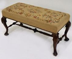 Needlepoint Window Bench from upthecreekantiques on Ruby Lane
