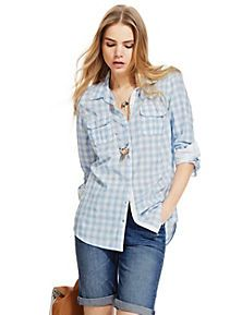 Blue Mix Pure Cotton Gingham Checked Shirt