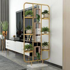 Bookshelf Room Divider, Living Room Divider, Room Divider Screen, Metal Room Divider, Living Room Decor Gold, Bedroom Divider, Jewel Tone Bedroom, Decorative Room Dividers, Modern Room Dividers