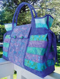 Carpet Bag Sewing Pattern ** This large bag could be done in suedes and faux leather or just one fabric [think plaid or wool suiting] and be incredible.