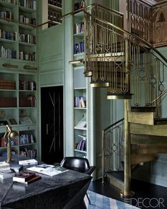 Books, Nooks and crannies: Brass Staircase via DiCorcia Interior Design