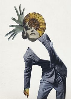 Rebeka Elizegi like to combine thumbnails and large pieces in the same space, thereby creating a universe of 'flying' figures out of paper and cardboard. Face Collage, Quote Collage, Paper Collage Art, Collage Artwork, Collage Artists, Collages, Surreal Collage, Surreal Art, Fashion Illustration Collage