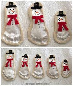 Salt dough footprint snowmen ornament keepsakes! Cute kids craft for christmas...makes great gifts.