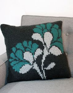 Free Knitting Pattern - Pillows, Cushions & Covers: While Away the Flowers Pillow