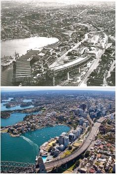 Aerial view of Milsons Point/North Sydney 1928 > c2015 (State Records NSW > Leda Holdings. By Rocco Roy Mico)