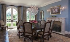 A large fireplace to finish off a formal dining room designed by Lauren Nicole Designs | Dining Room Interior Design Charlotte NC Weddington